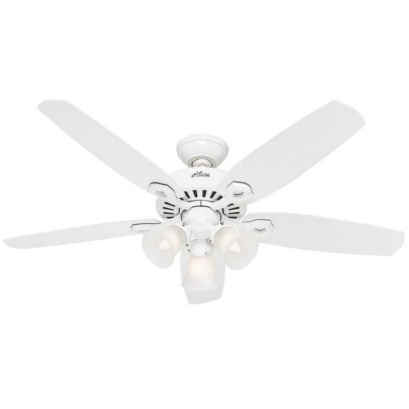 "Hunter 53236 Builder Plus Ceiling Fan, 52"", Snow White"