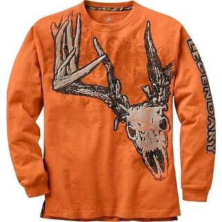 Legendary Whitetails Men's Running Rebel Long Sleeve Deer T-Shirt - Burnt Orange