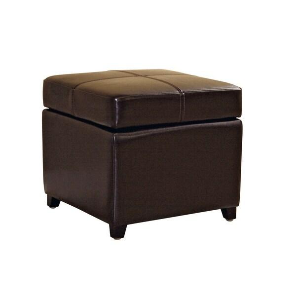 Monica Dark Brown Full Leather Storage Cube Ottoman