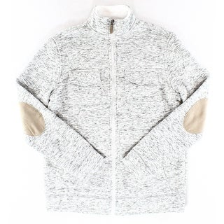 Tasso Elba NEW White Combo Mens Size 2XL Fleece Full Zip Sweater