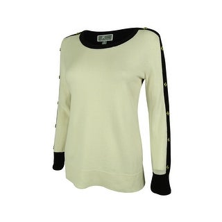 JM Collection Women's Colorblock Button-Sleeve Sweater