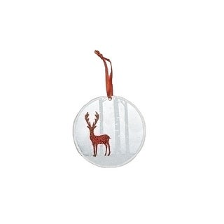 "4"" White Winter Scene with Red Glitter Deer Metal Disk Christmas Ornament"