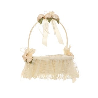 Cinderella Couture Ivory Lace Roses Wooden Heart Shape Flower Girl Basket