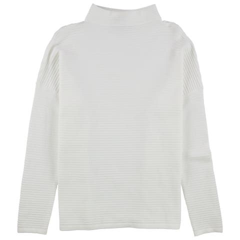 French Connection Womens Solid Pullover Sweater, White, Large
