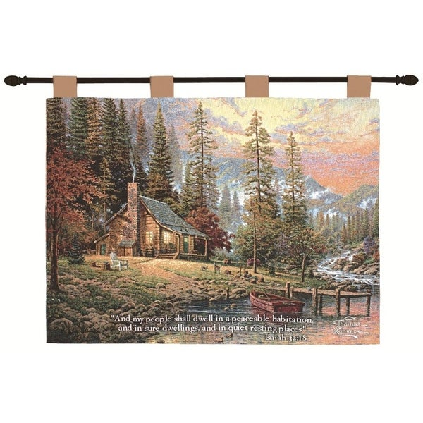 Thomas Kinkade Peace Retreat Pictorial Religious Verse Wall Art Hanging Tapestry 26 X