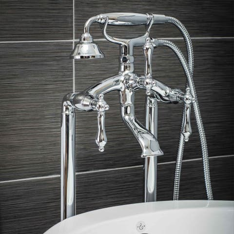 Pelham & White Luxury Tub Filler Faucet, Vintage Design, Floor Mount Installation, Lever Handles, Polished Chrome Finish