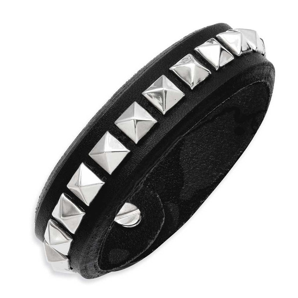 Stainless Steel Black Leather with Studs 9in Adjustable Bracelet