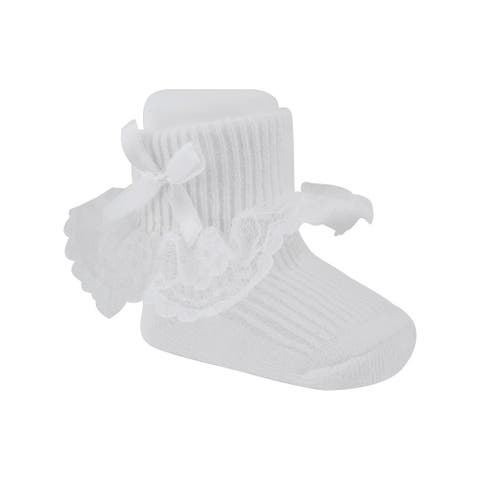 Baby Deer Baby Girls White Lace Trim Bow Adorned Stylish Bootie Socks