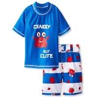 iXtreme Toddler Boys Swim Crab Shirt Rashguard Short Set Strpie Board Swim Trunk