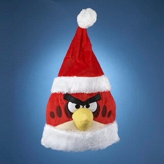 "20"" Angry Birds Red Bird Christmas Santa Hat with White Faux Fur Trim"