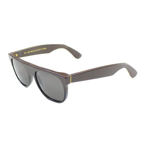 RetrosuperFuture Flat Top 776 FlatTopLeather Unisex Brown Leather Frame Grey Lens Sunglasses