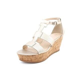 Franco Sarto Falco Women  Open Toe Leather Silver Wedge Heel