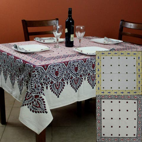 Cotton French Country Geometric Tablecloth for Square Tables 72 x 72 Inches Kitchen Dining Table Linen