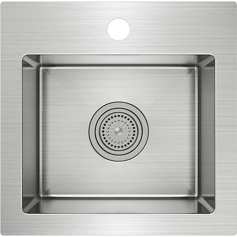 Artika SS1515R20-DY Cube 20-Gauge Single Bowl Stainless Steel Bar Sink