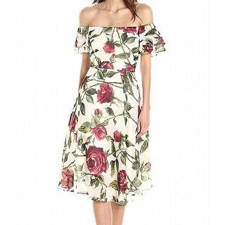 Betsey Johnson Womens Floral-Print A-Line Dress