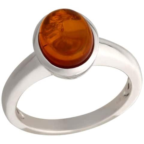 925 Sterling Silver Baltic Amber Ring