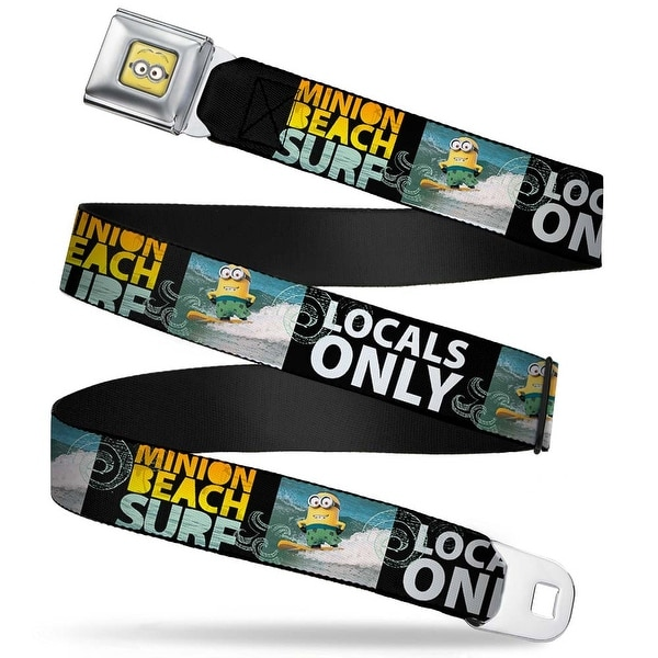 Minion Dave Face Close Up Full Color Surfing Minion Surf Beach Locals Only Seatbelt Belt