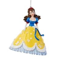 "4"" Princess in Blue and Yellow Ball Gown with Red Accent Dress Decorative Christmas Ornament"