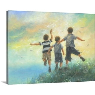Vickie Wade Premium Thick-Wrap Canvas entitled Three Brothers Leaping