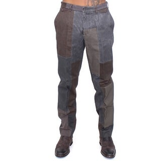 Dolce & Gabbana Brown Gray Patchwork Slimfit Pants Chinos