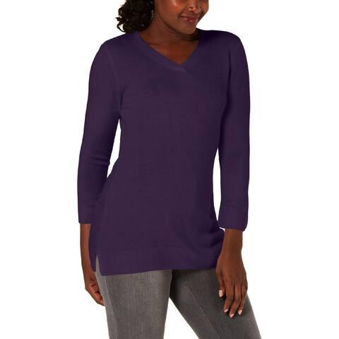 Karen Scott Womens Pullover Sweater Side Slit V-Neck