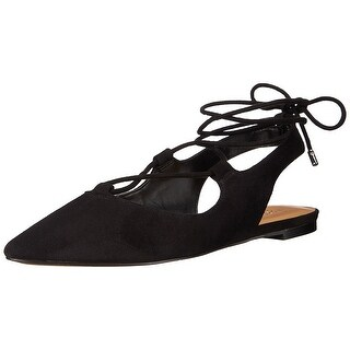 Franco Sarto Womens L-Snap Pointed Toe Ankle Wrap Slide Flats