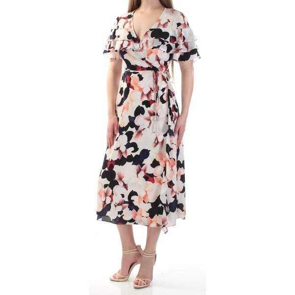 Shop Womens Ivory Floral Short Sleeve Tea-Length Wrap Dress Dress Size  L -  Free Shipping On Orders Over  45 - - 24059478 5b3b754c7f