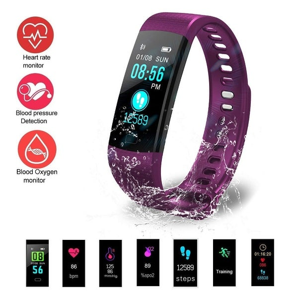Waterproof Wireless Bluetooth Smart Fitness Tracker Heart Rate Count Wrist Bracelet Watch Band for Android IOS, Purple