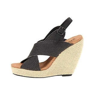 Gabriella Rocha Womens Sunny Wedges Striped Slingback - 9.5 medium (b,m)