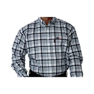 Cinch Work Shirt Mens Long Sleeve WRX Twill White Grey WLW3001022