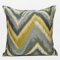 "G Home Collection Luxury Green and Blue Big Chevron Pattern Jacquard Pillow 20""X20"""