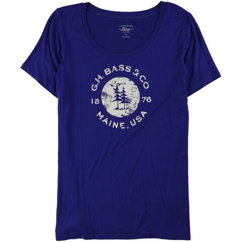 G.H. Bass & Co. Womens Logo Graphic T-Shirt, blue, Large