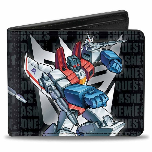 Starscream Shooting Decepticon Logo + Text Standing Pose Bi Fold Wallet - One Size Fits most