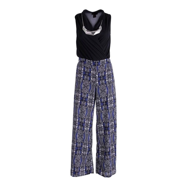 Material Girl Womens Jumpsuit Chiffon Printed