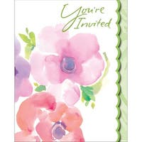 Club Pack of 48 Warm Floral Holiday Party Paper Invitation Cards - Pink