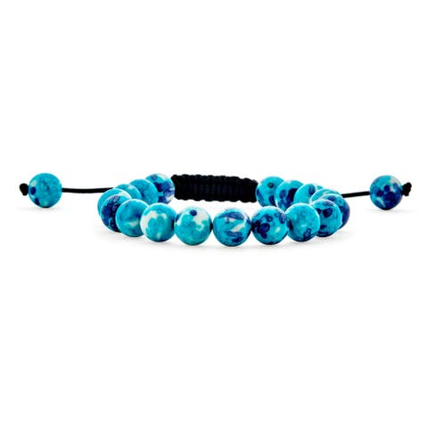 Hand Knotted Turquoise Strand Shamballa Inspired Bracelet Adjustable