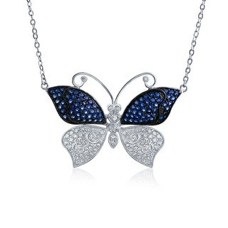 Bling Jewelry Blue Spinel White CZ Butterfly Necklace Rhodium Plated