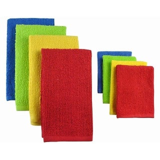 Pack of 8 Solid Primary Colored Dish Towel and Wash Cloth Kitchen Accessory Set - Terry Cloth