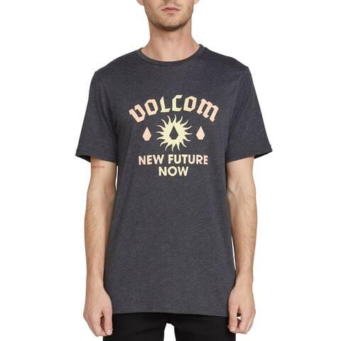 Volcom Mens T-Shirt Gray Size Medium M Crew Modern Fit Logo Graphic Tee