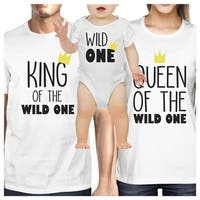 King Queen Wild One Crown Family White Matching Clothes Baby Shower Gift