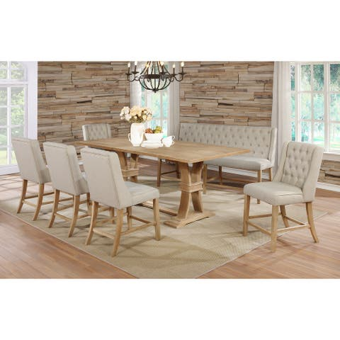 """Best Quality Furniture 18"""" Center Leaf 7pc Counter Height Set w/ Bench"""