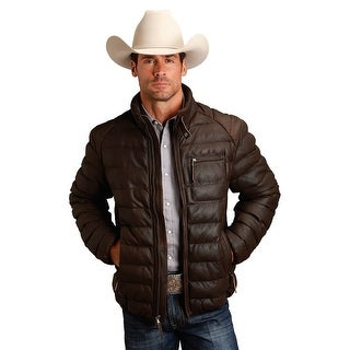 Stetson Western Jacket Mens Leather Quilt Brown