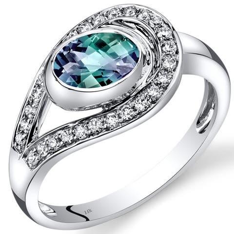 14 Karat White Gold Created Alexandrite Diamond Ring 1.22 Carats