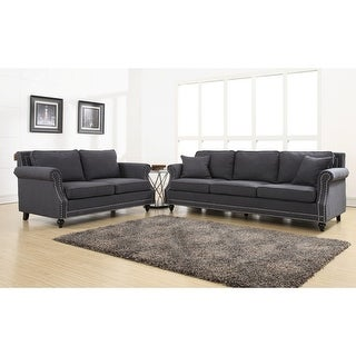 Link to Camden Grey Linen Loveseat Similar Items in Living Room Furniture