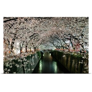 Poster Print entitled Cherry blossoms over Meguro River, Tokyo, Japan (5 options available)