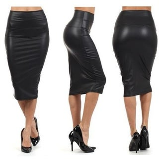 Women's Below Knee Stretch Skinny Faux Leather Pencil Mini Skirts