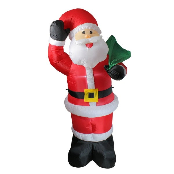 8' Red and White Animated Inflatable Standing Santa Claus Christmas Yard Decor. Opens flyout.