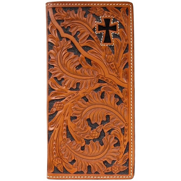 3D Western Wallet Men Leather Rodeo Checkbook Cross Natural - One size