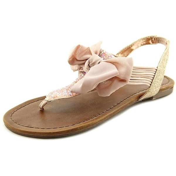 Material Girl Womens Swan Fabric Split Toe Casual T-Strap Sandals