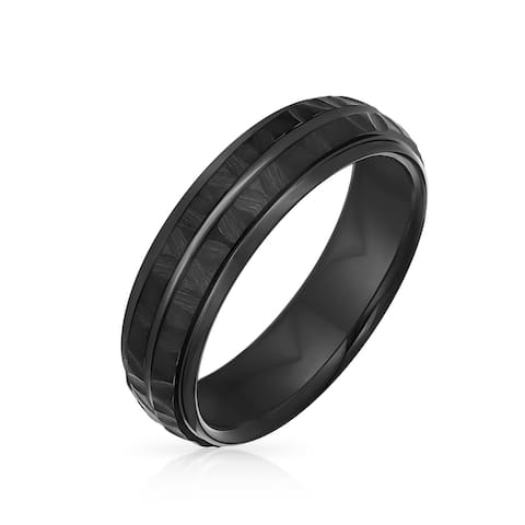 Grooved Solid Black Hammered Wedding Band Titanium Rings for Men 8MM